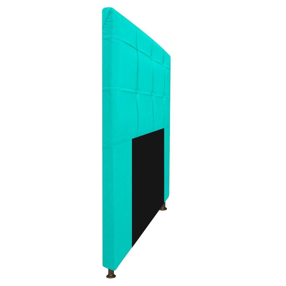 Kit Cabeceira e Calçadeira Baú Estofada Mel 100 cm Solteiro Com Capitonê Corano Azul Turquesa - ADJ Decor