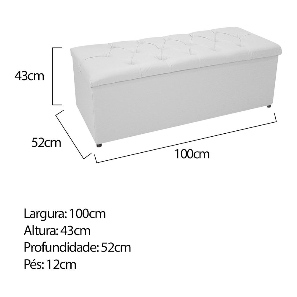 Kit Cabeceira e Calçadeira Baú Estofada Mel 100 cm Solteiro Com Capitonê Corano Branco - ADJ Decor