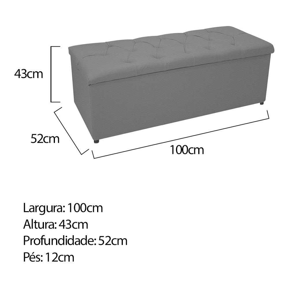 Kit Cabeceira e Calçadeira Baú Estofada Mel 100 cm Solteiro Com Capitonê Corano Cinza - ADJ Decor