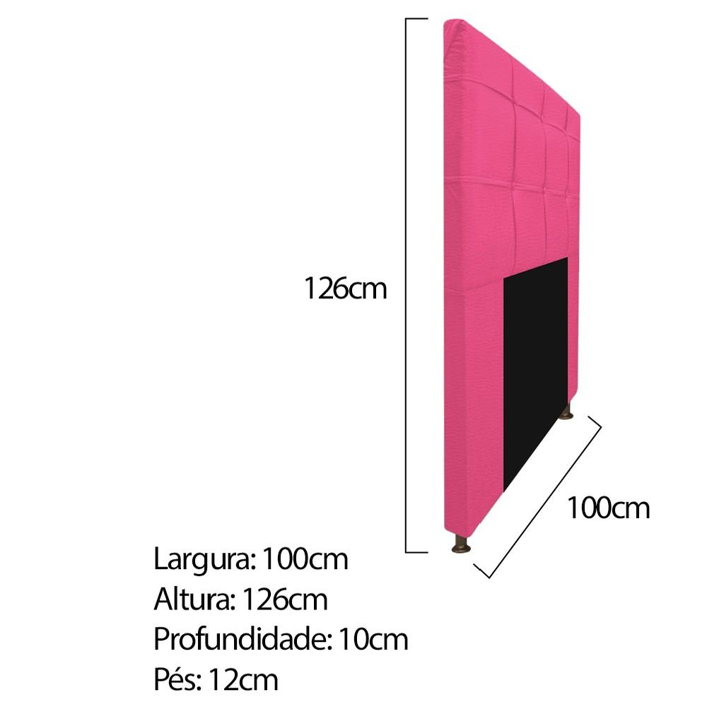 Kit Cabeceira e Calçadeira Baú Estofada Mel 100 cm Solteiro Com Capitonê Corano Pink - ADJ Decor