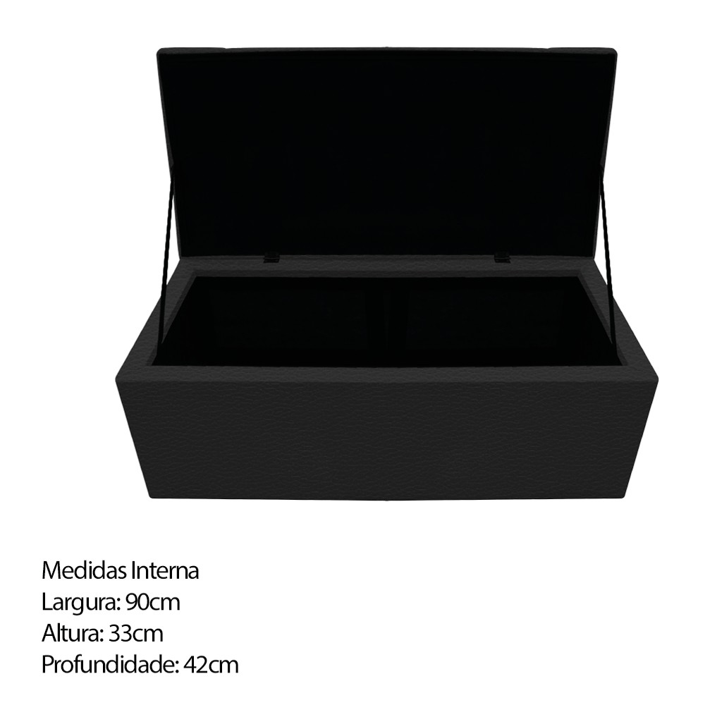 Kit Cabeceira e Calçadeira Baú Estofada Mel 100 cm Solteiro Com Capitonê Corano Preto - ADJ Decor