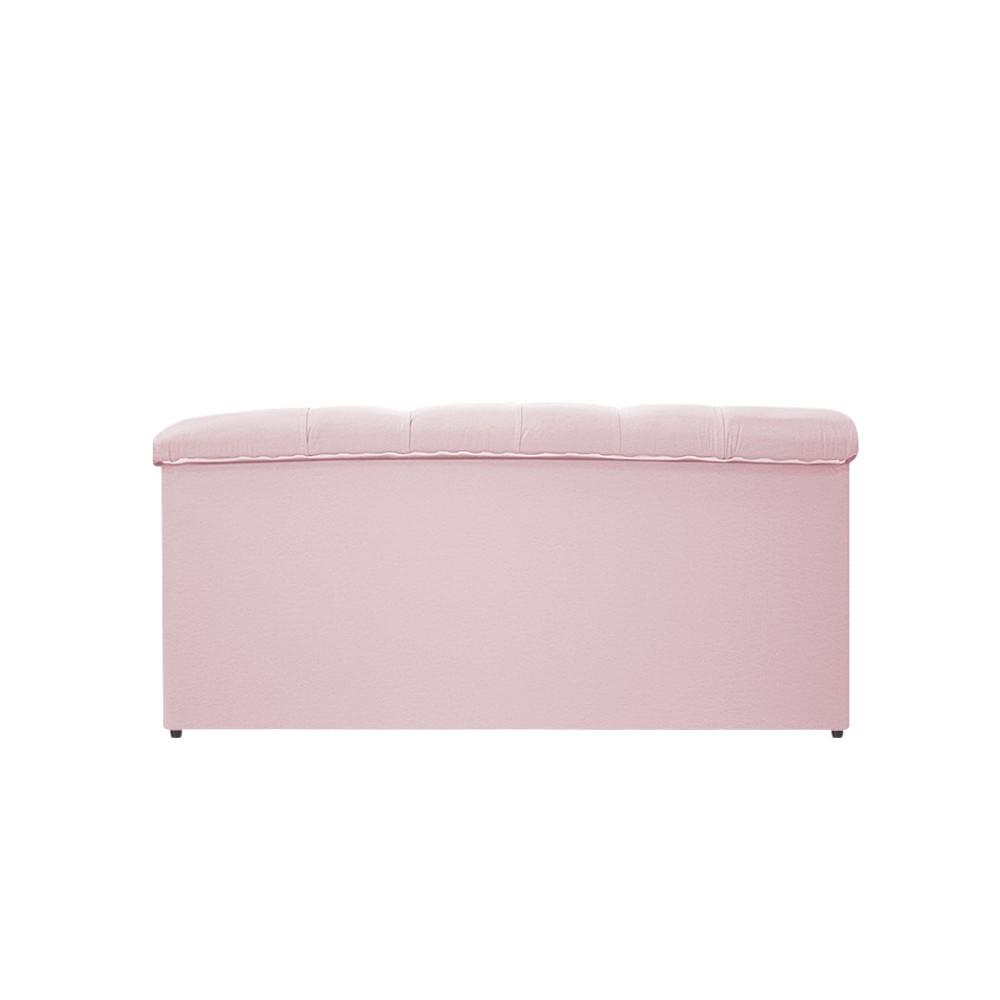 Kit Cabeceira e Calçadeira Baú Estofada Mel 100 cm Solteiro Com Capitonê Corano Rosa Bebê - ADJ Decor