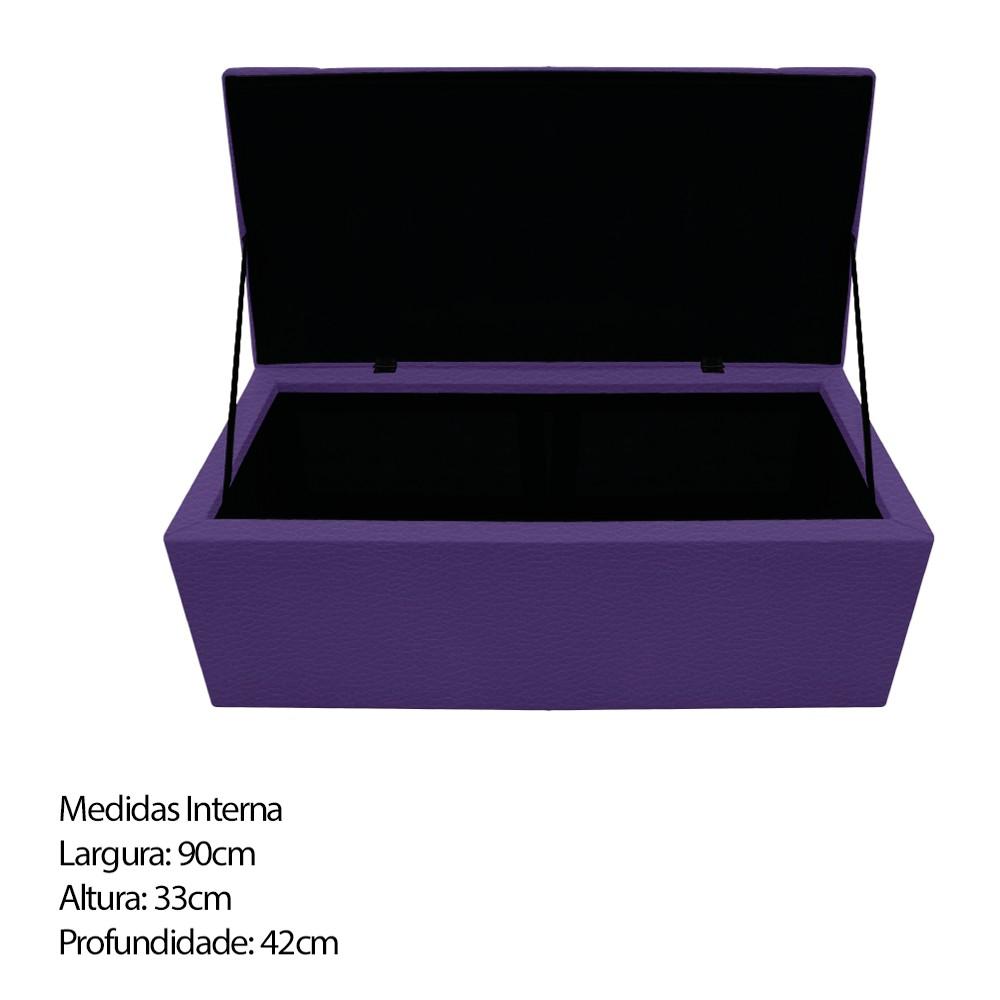 Kit Cabeceira e Calçadeira Baú Estofada Mel 100 cm Solteiro Com Capitonê Corano Roxo - ADJ Decor