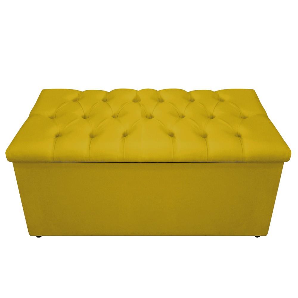 Kit Cabeceira e Calçadeira Baú Estofada Mel 100 cm Solteiro Com Capitonê Suede Amarelo - ADJ Decor