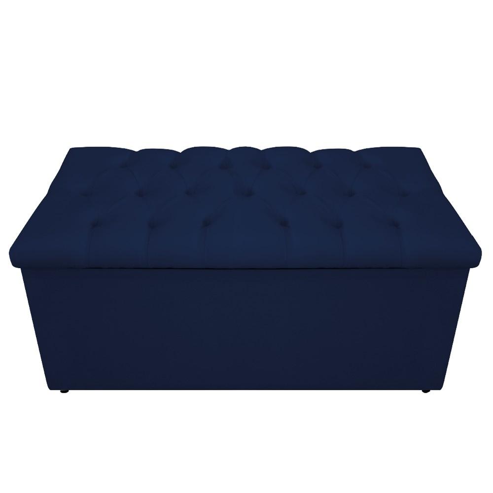 Kit Cabeceira e Calçadeira Baú Estofada Mel 100 cm Solteiro Com Capitonê Suede Azul Marinho - ADJ Decor