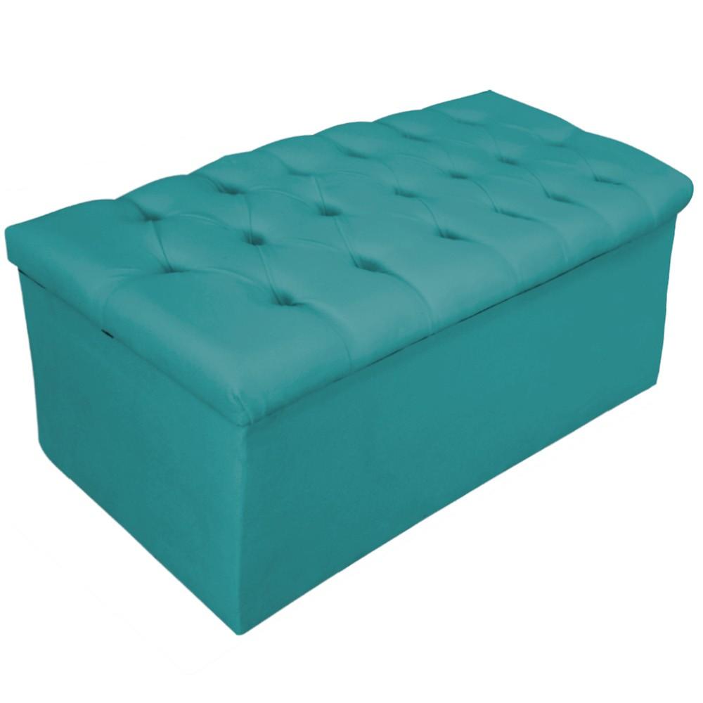 Kit Cabeceira e Calçadeira Baú Estofada Mel 100 cm Solteiro Com Capitonê Suede Azul Turquesa - ADJ Decor