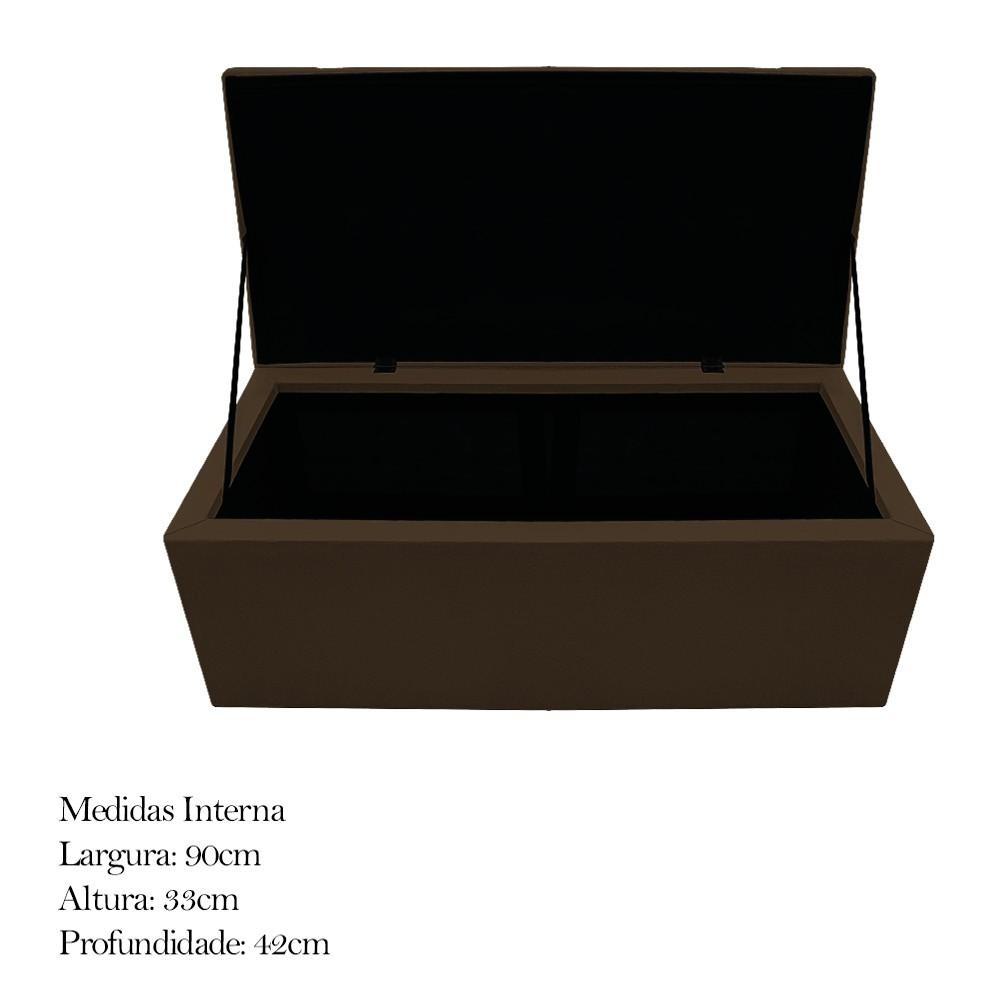 Kit Cabeceira e Calçadeira Baú Estofada Mel 100 cm Solteiro Com Capitonê Suede Marrom - ADJ Decor