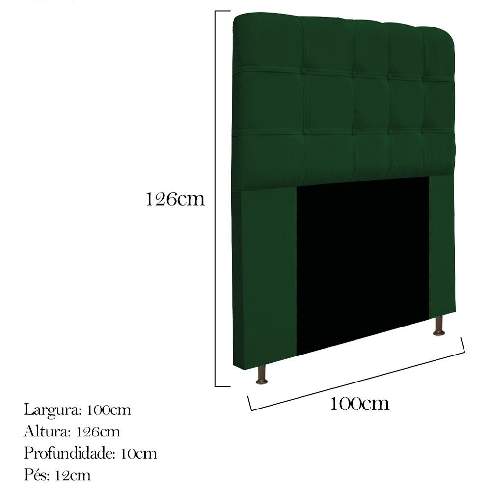 Kit Cabeceira e Calçadeira Baú Estofada Mel 100 cm Solteiro Com Capitonê Suede Verde - ADJ Decor