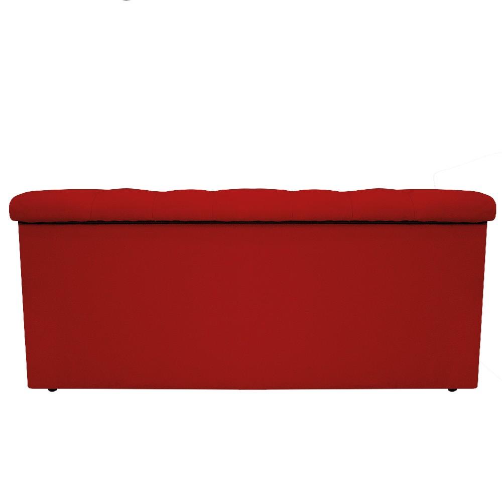 Kit Cabeceira e Calçadeira Baú Estofada Mel 100 cm Solteiro Com Capitonê Suede Vermelho - ADJ Decor