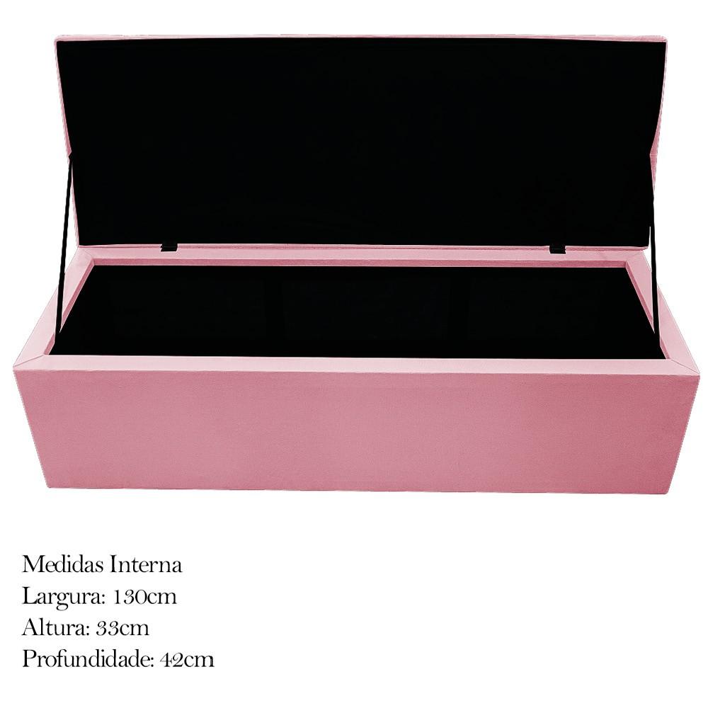 Kit Cabeceira e Calçadeira Baú Estofada Mel 140 cm Casal Com Botonê  Suede Rosa Bebê - ADJ Decor