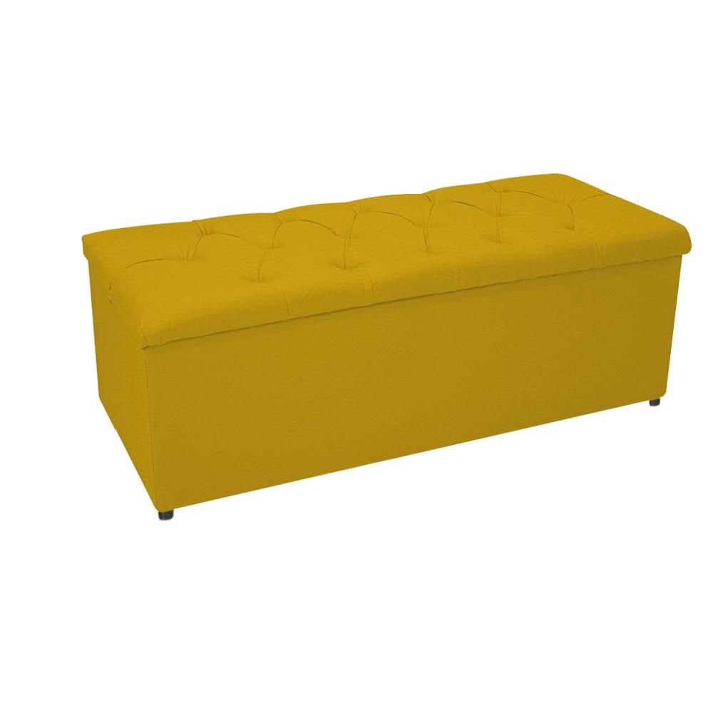 Kit Cabeceira e Calçadeira Baú Estofada Mel 140 cm Casal Com Capitonê Corano Amarelo - ADJ Decor