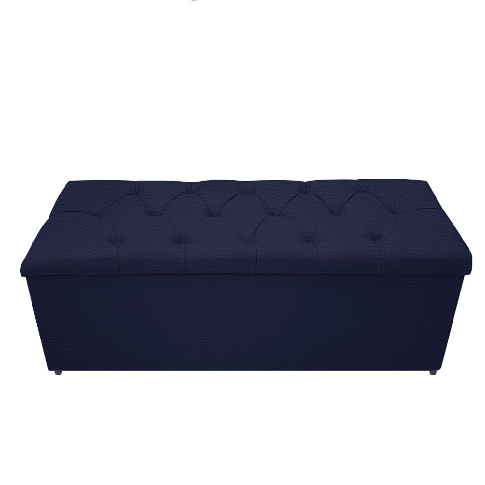 Kit Cabeceira e Calçadeira Baú Estofada Mel 140 cm Casal Com Capitonê Corano Azul Marinho - ADJ Decor