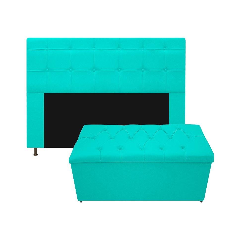 Kit Cabeceira e Calçadeira Baú Estofada Mel 140 cm Casal Com Capitonê Corano Azul Turquesa - ADJ Decor