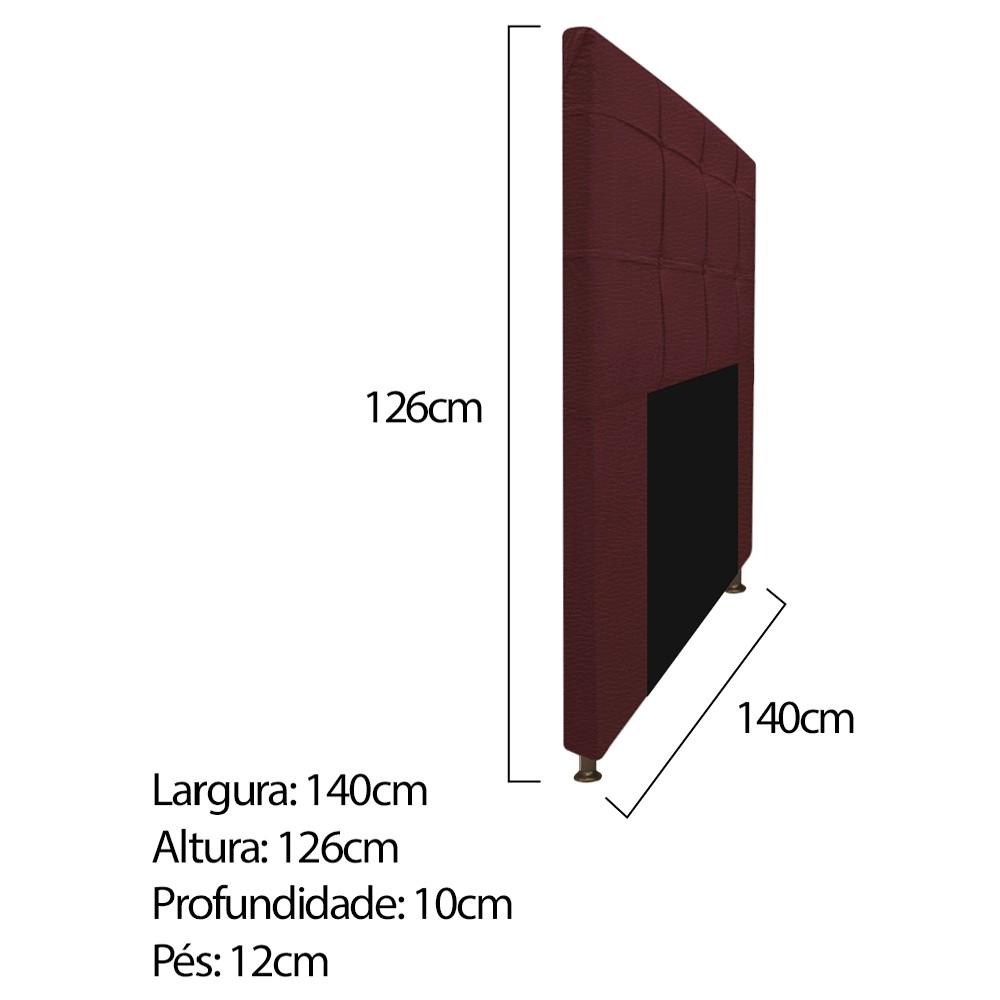 Kit Cabeceira e Calçadeira Baú Estofada Mel 140 cm Casal Com Capitonê Corano Bordô - ADJ Decor