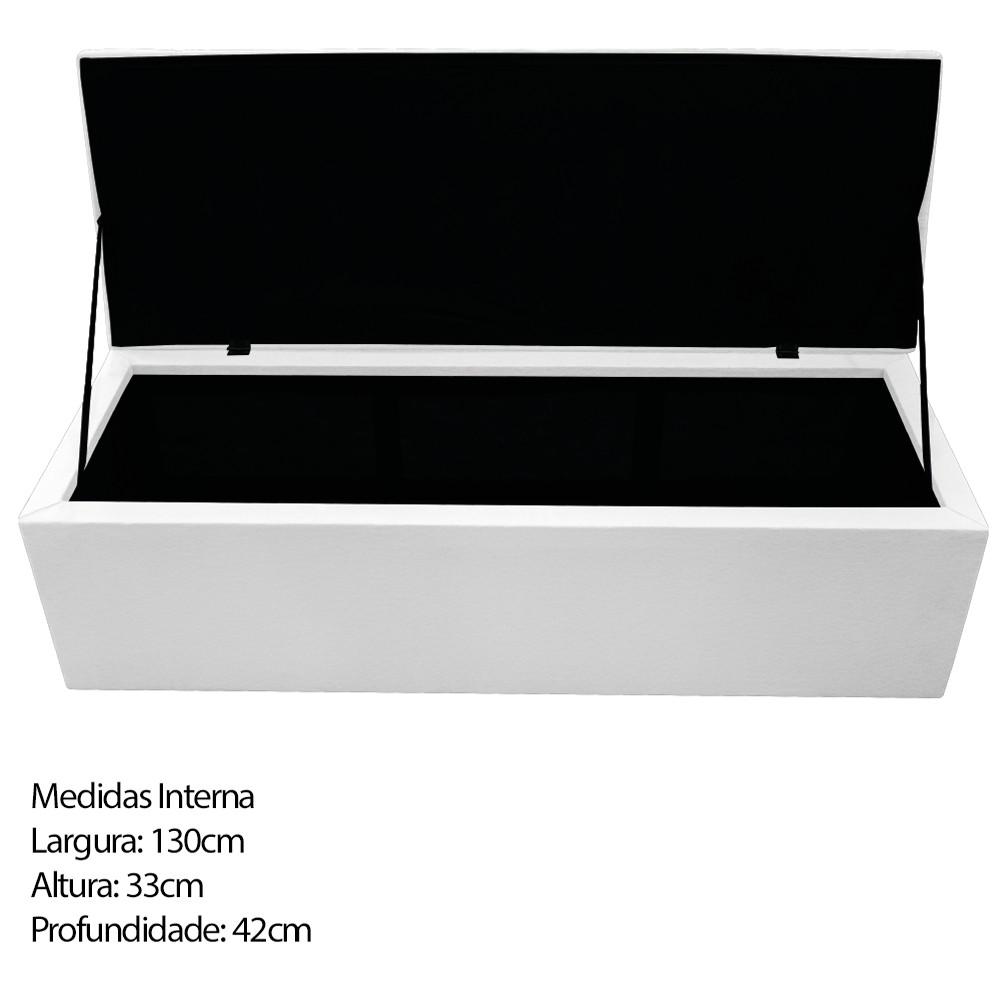 Kit Cabeceira e Calçadeira Baú Estofada Mel 140 cm Casal Com Capitonê Corano Branco - ADJ Decor