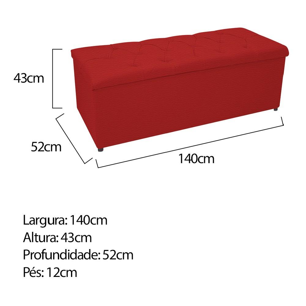 Kit Cabeceira e Calçadeira Baú Estofada Mel 140 cm Casal Com Capitonê Corano Vermelho - ADJ Decor