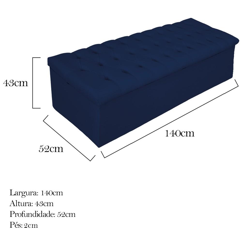 Kit Cabeceira e Calçadeira Baú Estofada Mel 140 cm Casal Com Capitonê Suede Azul Marinho - ADJ Decor