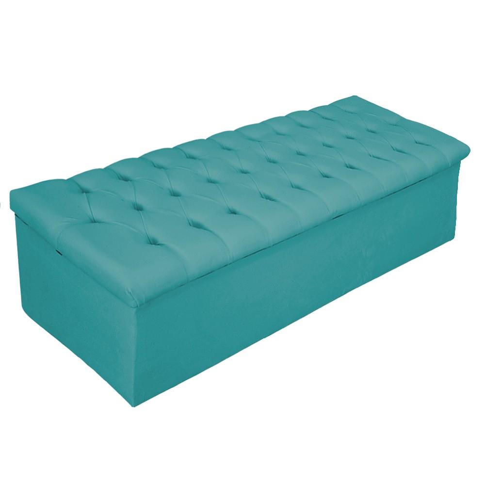 Kit Cabeceira e Calçadeira Baú Estofada Mel 140 cm Casal Com Capitonê Suede Azul Turquesa - ADJ Decor