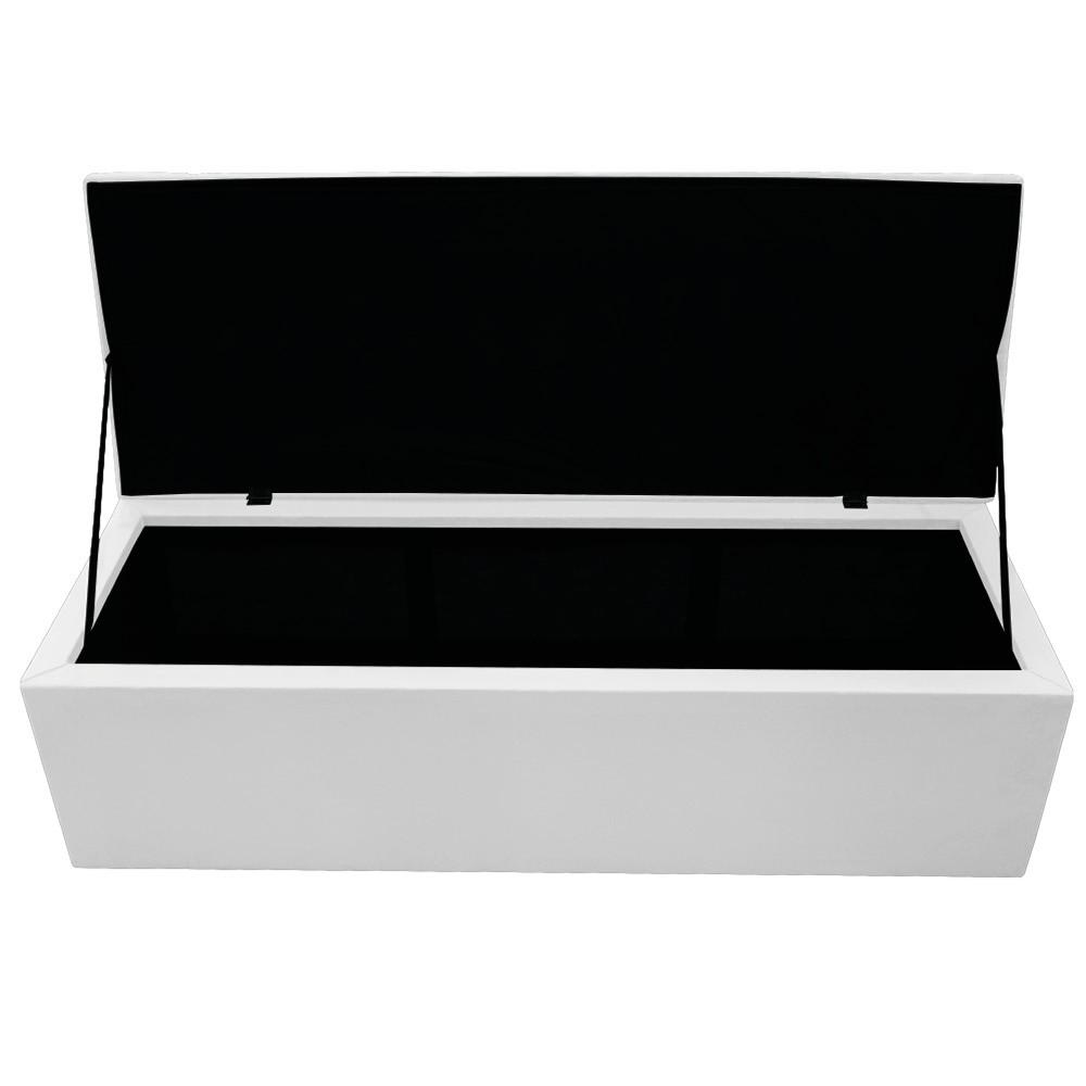 Kit Cabeceira e Calçadeira Baú Estofada Mel 140 cm Casal Com Capitonê Suede Branco - ADJ Decor