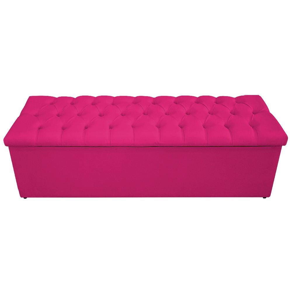 Kit Cabeceira e Calçadeira Baú Estofada Mel 140 cm Casal Com Capitonê Suede Pink - ADJ Decor