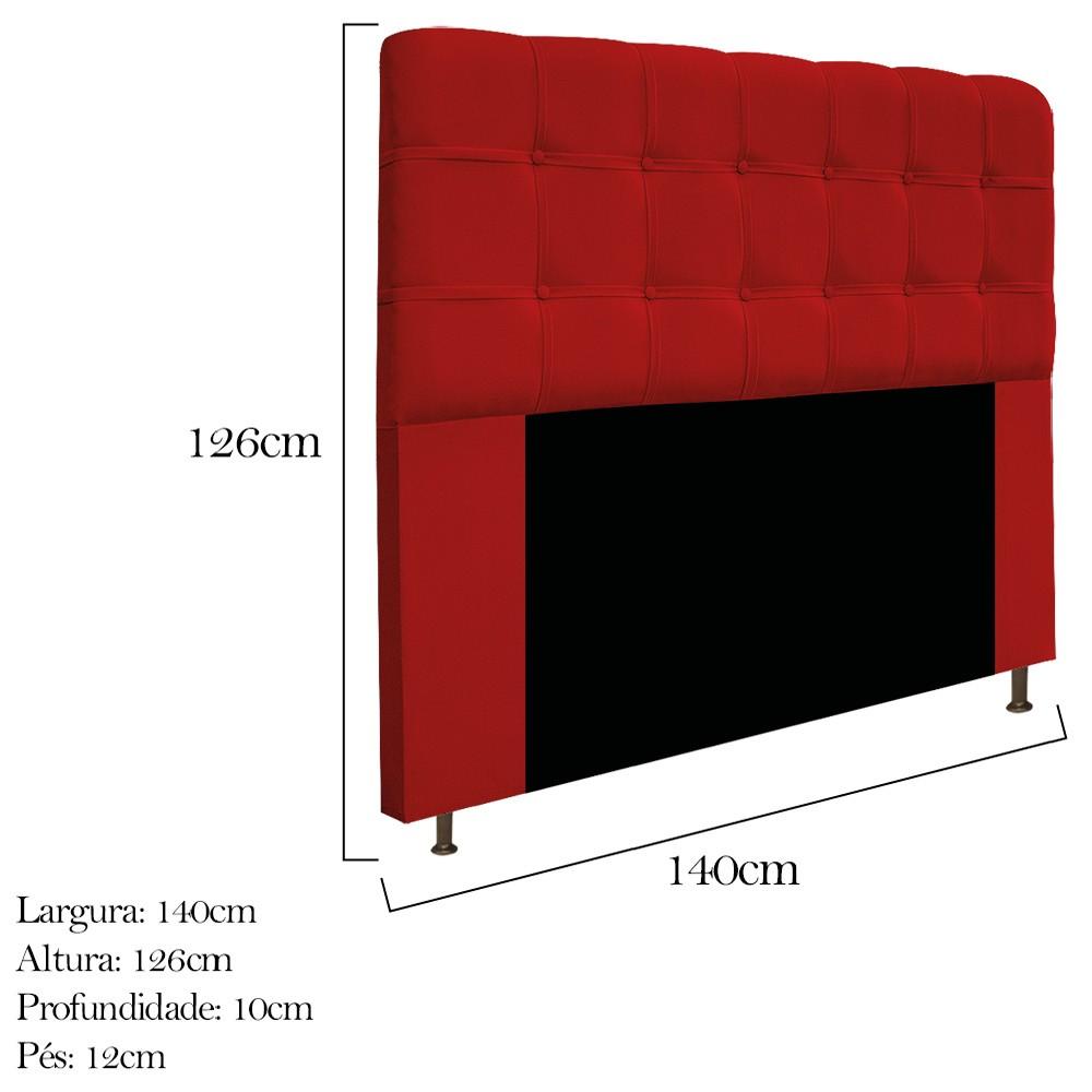 Kit Cabeceira e Calçadeira Baú Estofada Mel 140 cm Casal Com Capitonê Suede Vermelho - ADJ Decor
