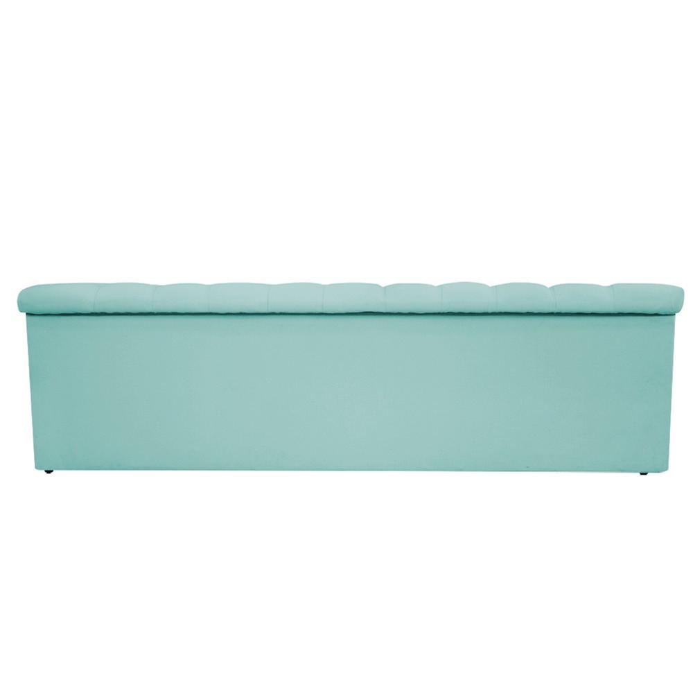 Kit Cabeceira e Calçadeira Baú Estofada Mel 160 cm Queen Size Com Botonê Suede Azul Tiffany - ADJ Decor