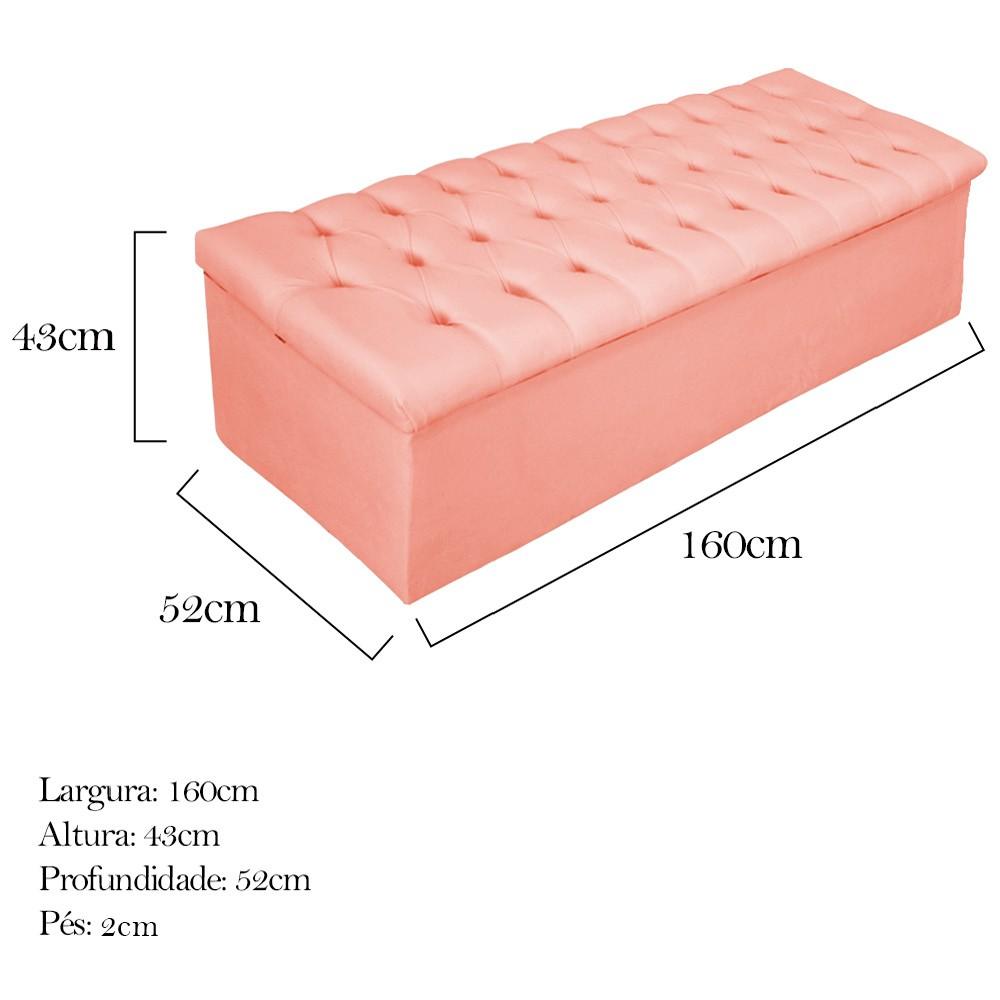 Kit Cabeceira e Calçadeira Baú Estofada Mel 160 cm Queen Size Com Botonê Suede Coral - ADJ Decor
