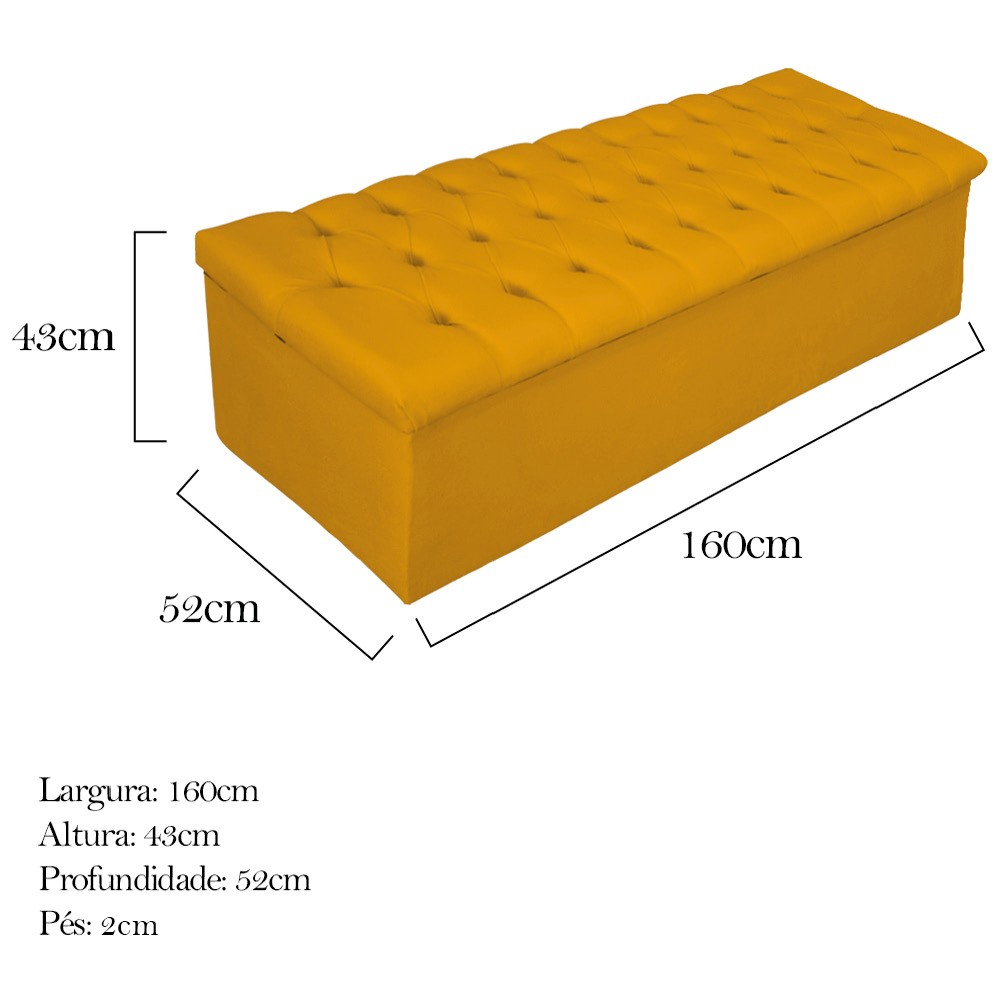 Kit Cabeceira e Calçadeira Baú Estofada Mel 160 cm Queen Size Com Botonê Suede Mostarda - ADJ Decor