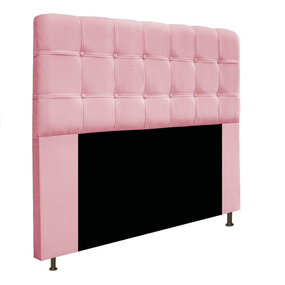 Kit Cabeceira e Calçadeira Baú Estofada Mel 160 cm Queen Size Com Botonê Suede Rosa Bebê - ADJ Decor