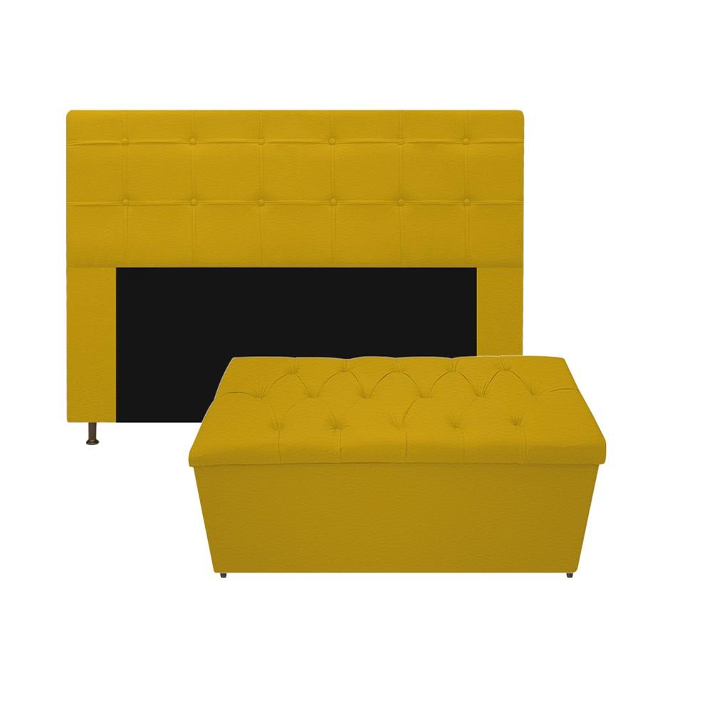 Kit Cabeceira e Calçadeira Baú Estofada Mel 160 cm Queen Size Com Capitonê Corano Amarelo - ADJ Decor