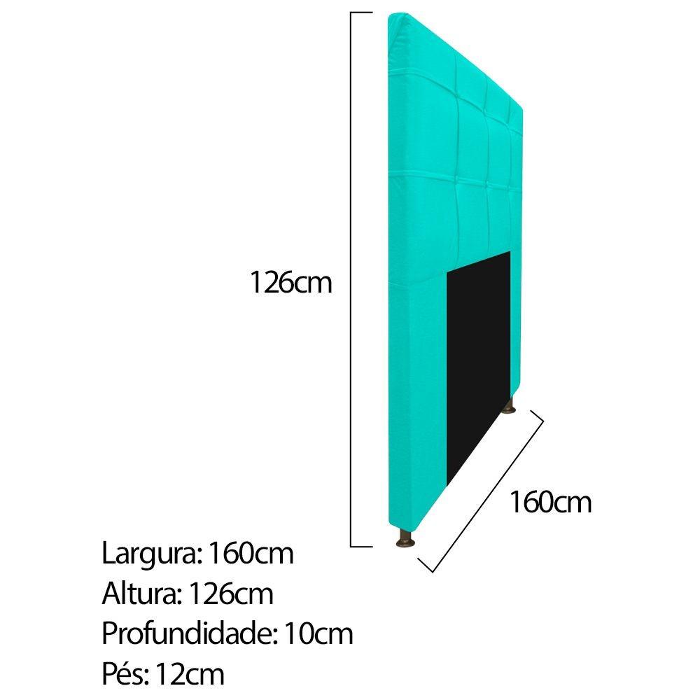 Kit Cabeceira e Calçadeira Baú Estofada Mel 160 cm Queen Size Com Capitonê Corano Azul Turquesa - ADJ Decor