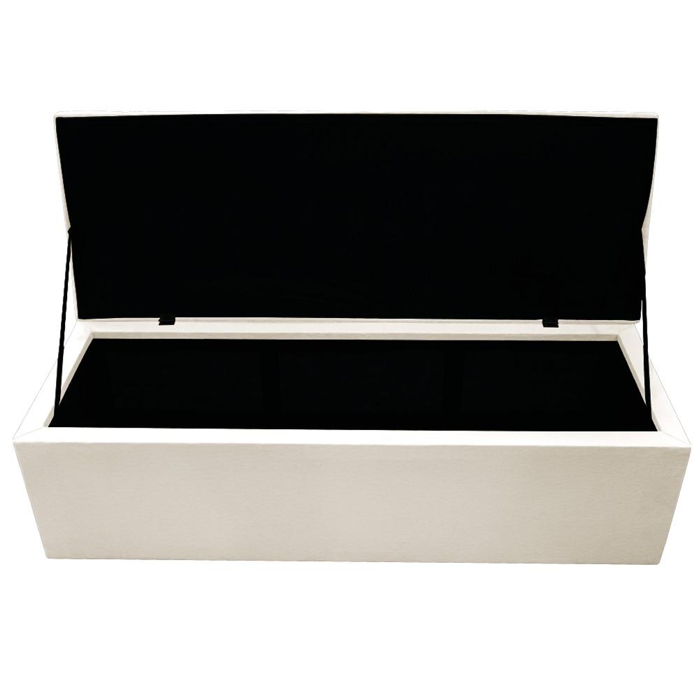 Kit Cabeceira e Calçadeira Baú Estofada Mel 160 cm Queen Size Com Capitonê Corano Bege - ADJ Decor