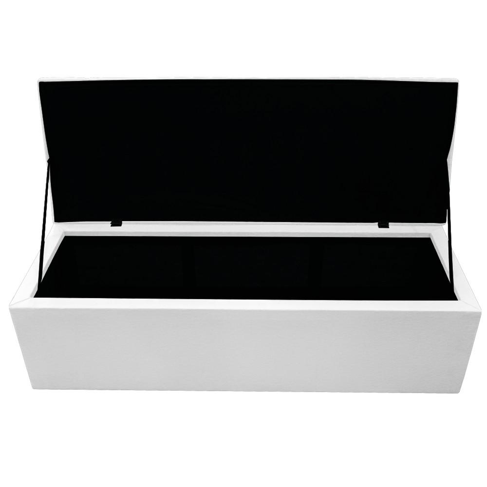 Kit Cabeceira e Calçadeira Baú Estofada Mel 160 cm Queen Size Com Capitonê Corano Branco - ADJ Decor