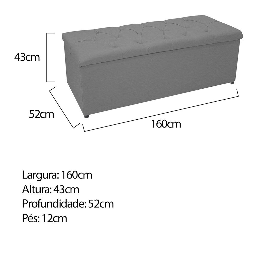 Kit Cabeceira e Calçadeira Baú Estofada Mel 160 cm Queen Size Com Capitonê Corano Cinza - ADJ Decor