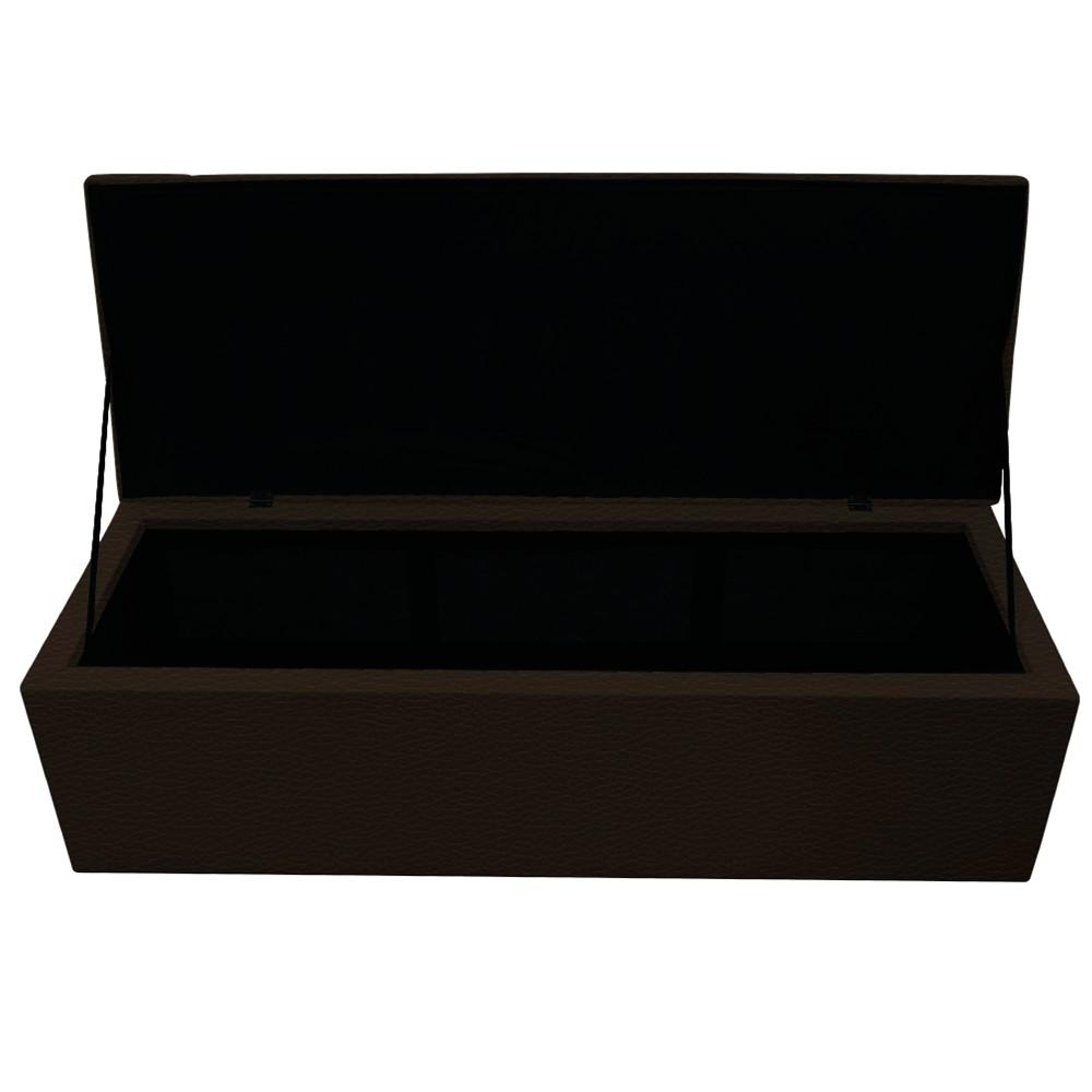 Kit Cabeceira e Calçadeira Baú Estofada Mel 160 cm Queen Size Com Capitonê Corano Marrom - ADJ Decor