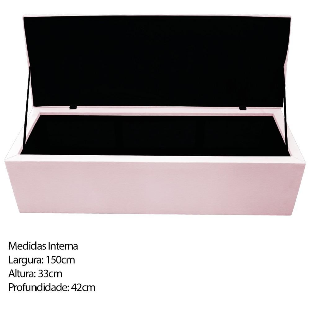 Kit Cabeceira e Calçadeira Baú Estofada Mel 160 cm Queen Size Com Capitonê Corano Rosa Bebê - ADJ Decor