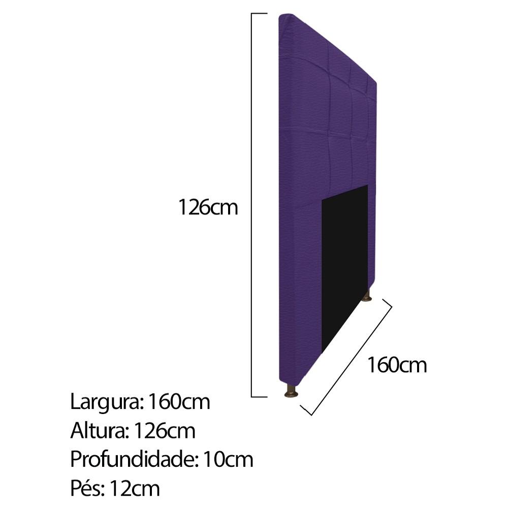 Kit Cabeceira e Calçadeira Baú Estofada Mel 160 cm Queen Size Com Capitonê Corano Roxo - ADJ Decor