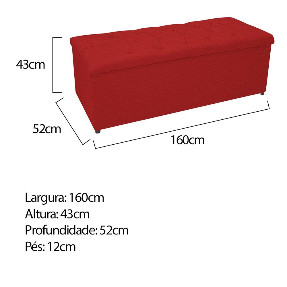 Kit Cabeceira e Calçadeira Baú Estofada Mel 160 cm Queen Size Com Capitonê Corano Vermelho - ADJ Decor