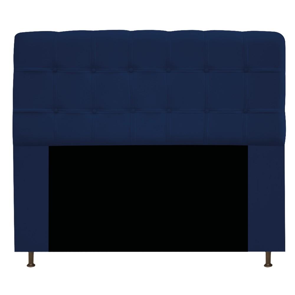 Kit Cabeceira e Calçadeira Baú Estofada Mel 160 cm Queen Size Com Capitonê Suede Azul Marinho - ADJ Decor