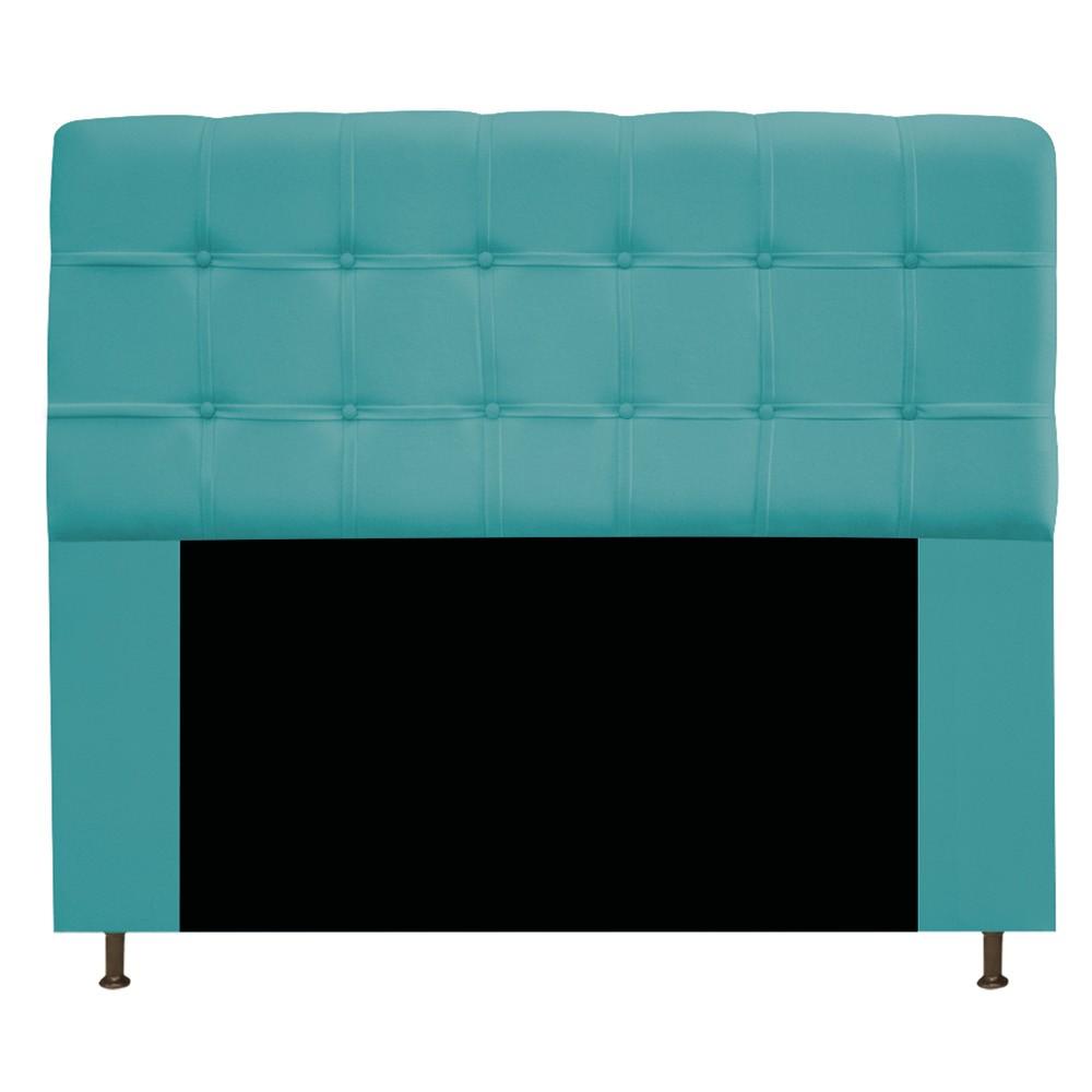 Kit Cabeceira e Calçadeira Baú Estofada Mel 160 cm Queen Size Com Capitonê Suede Azul Turquesa - ADJ Decor