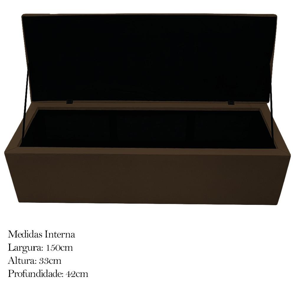 Kit Cabeceira e Calçadeira Baú Estofada Mel 160 cm Queen Size Com Capitonê Suede Marrom - ADJ Decor