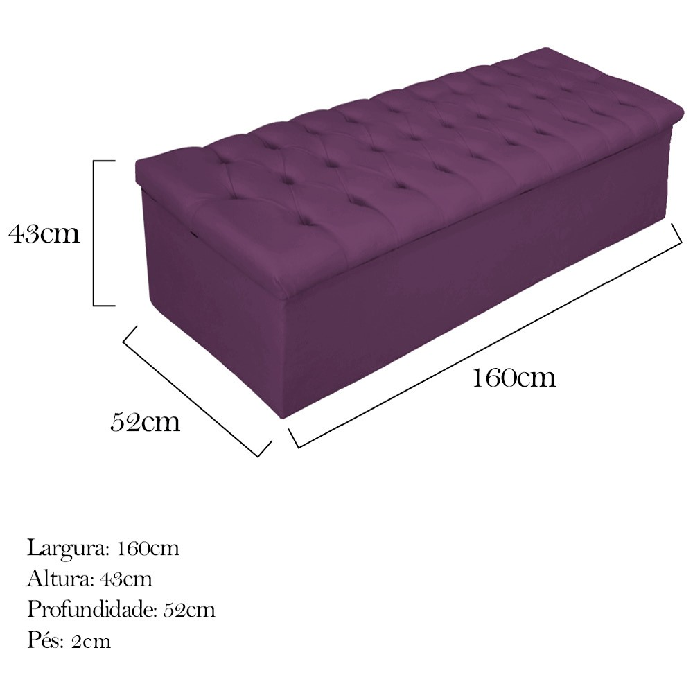 Kit Cabeceira e Calçadeira Baú Estofada Mel 160 cm Queen Size Com Capitonê Suede Roxo - ADJ Decor