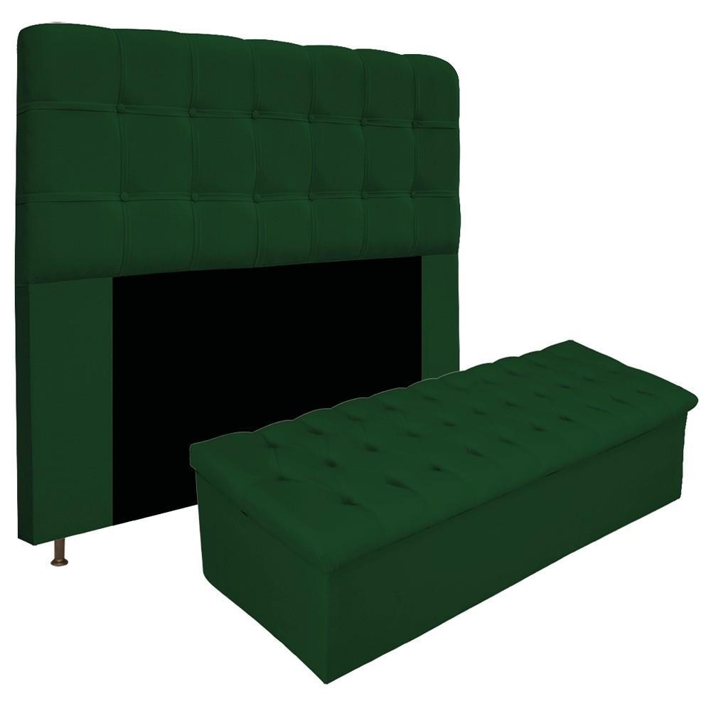 Kit Cabeceira e Calçadeira Baú Estofada Mel 160 cm Queen Size Com Capitonê Suede Verde - ADJ Decor