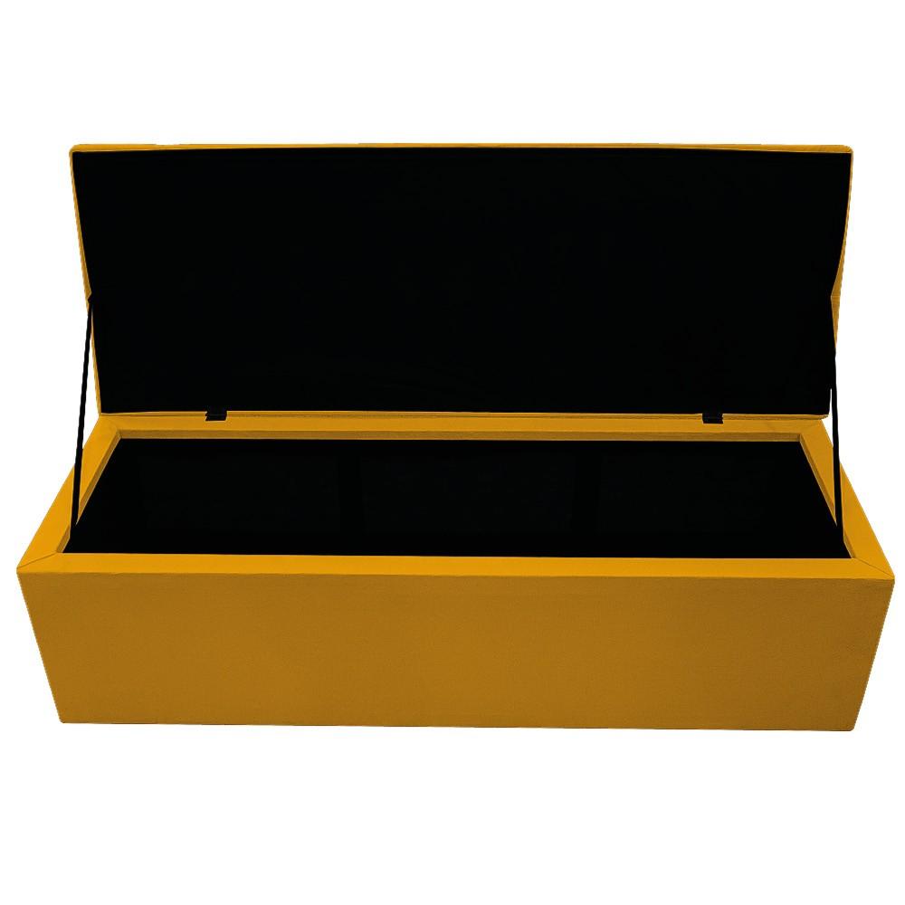Kit Cabeceira e Calçadeira Baú Estofada Mel 195 cm King Size Com Botonê Suede Mostarda - ADJ Decor