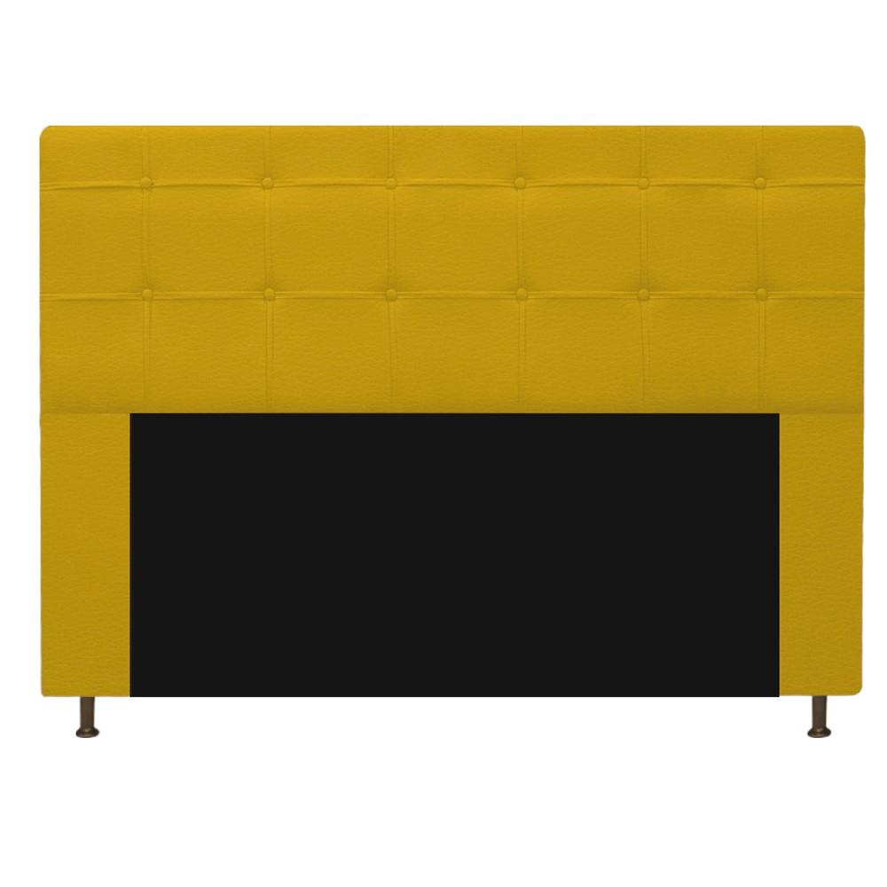 Kit Cabeceira e Calçadeira Baú Estofada Mel 195 cm King Size Com Capitonê Corano Amarelo - ADJ Decor