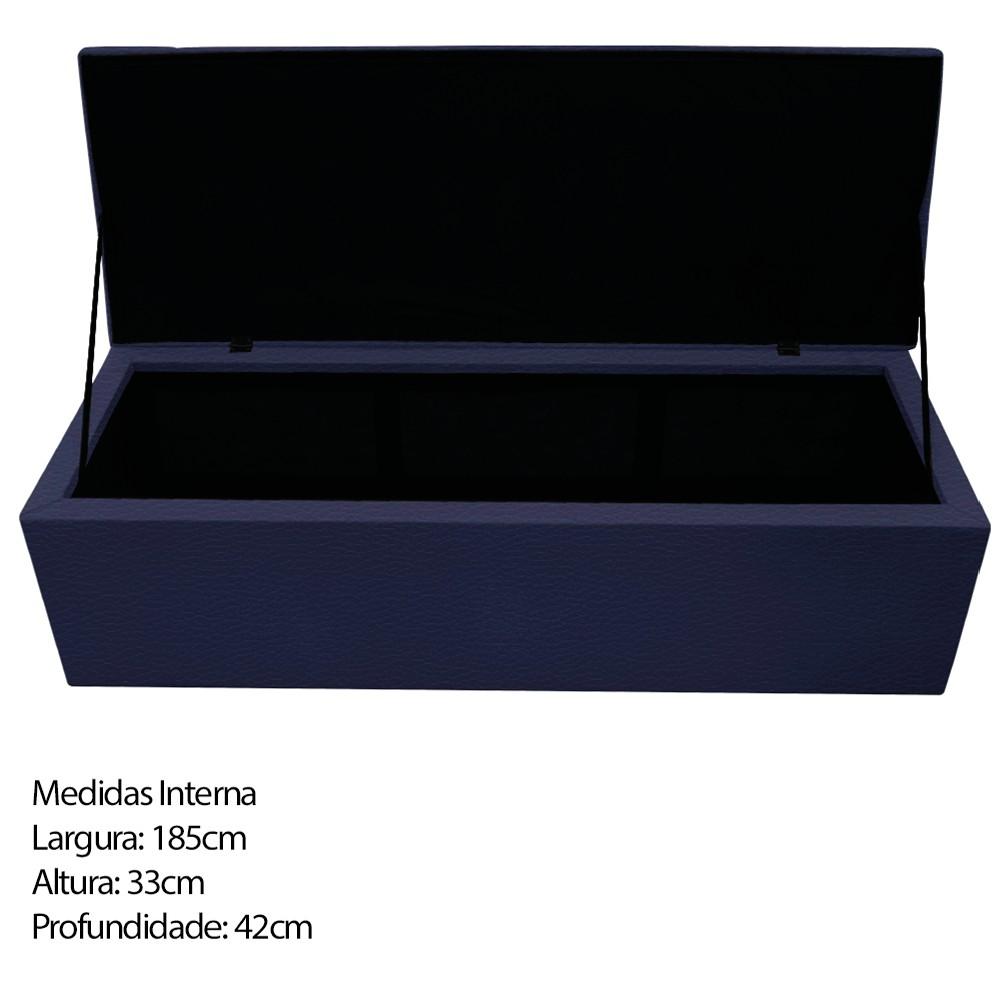 Kit Cabeceira e Calçadeira Baú Estofada Mel 195 cm King Size Com Capitonê Corano Azul Marinho - ADJ Decor