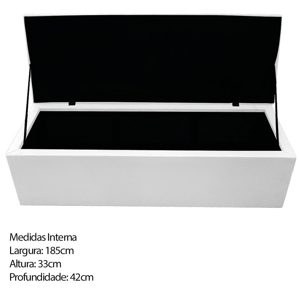 Kit Cabeceira e Calçadeira Baú Estofada Mel 195 cm King Size Com Capitonê Corano Branco - ADJ Decor