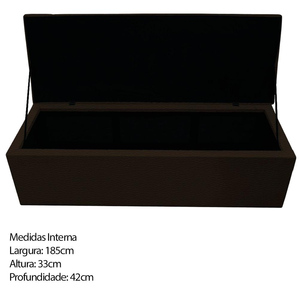 Kit Cabeceira e Calçadeira Baú Estofada Mel 195 cm King Size Com Capitonê Corano Marrom - ADJ Decor