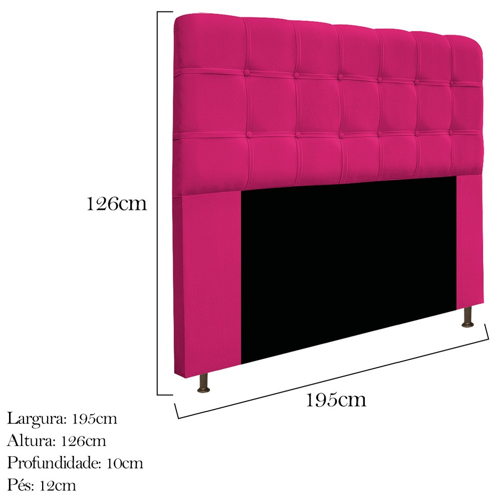Kit Cabeceira e Calçadeira Baú Estofada Mel 195 cm King Size Com Capitonê Suede Pink - ADJ Decor
