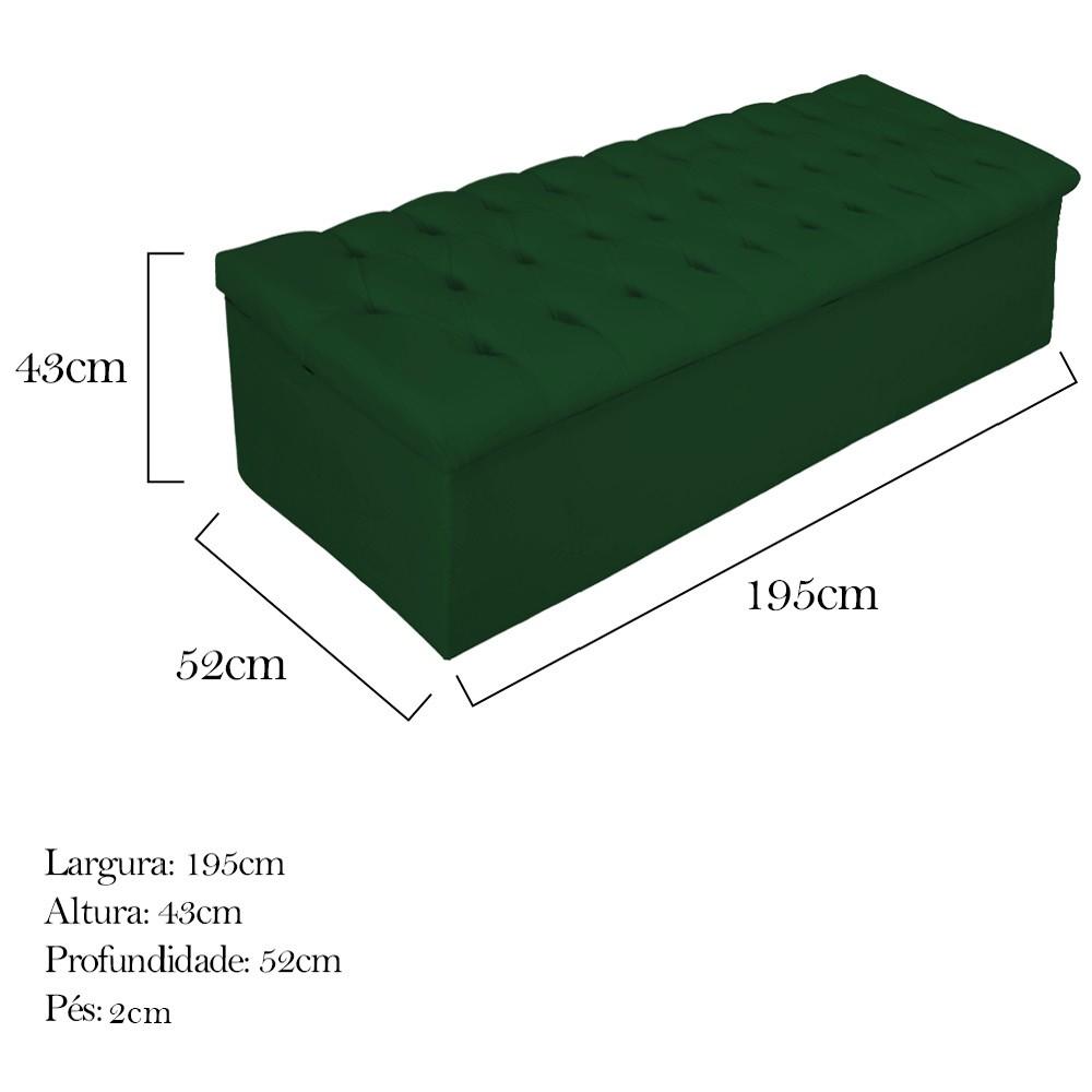 Kit Cabeceira e Calçadeira Baú Estofada Mel 195 cm King Size Com Capitonê Suede Verde - ADJ Decor